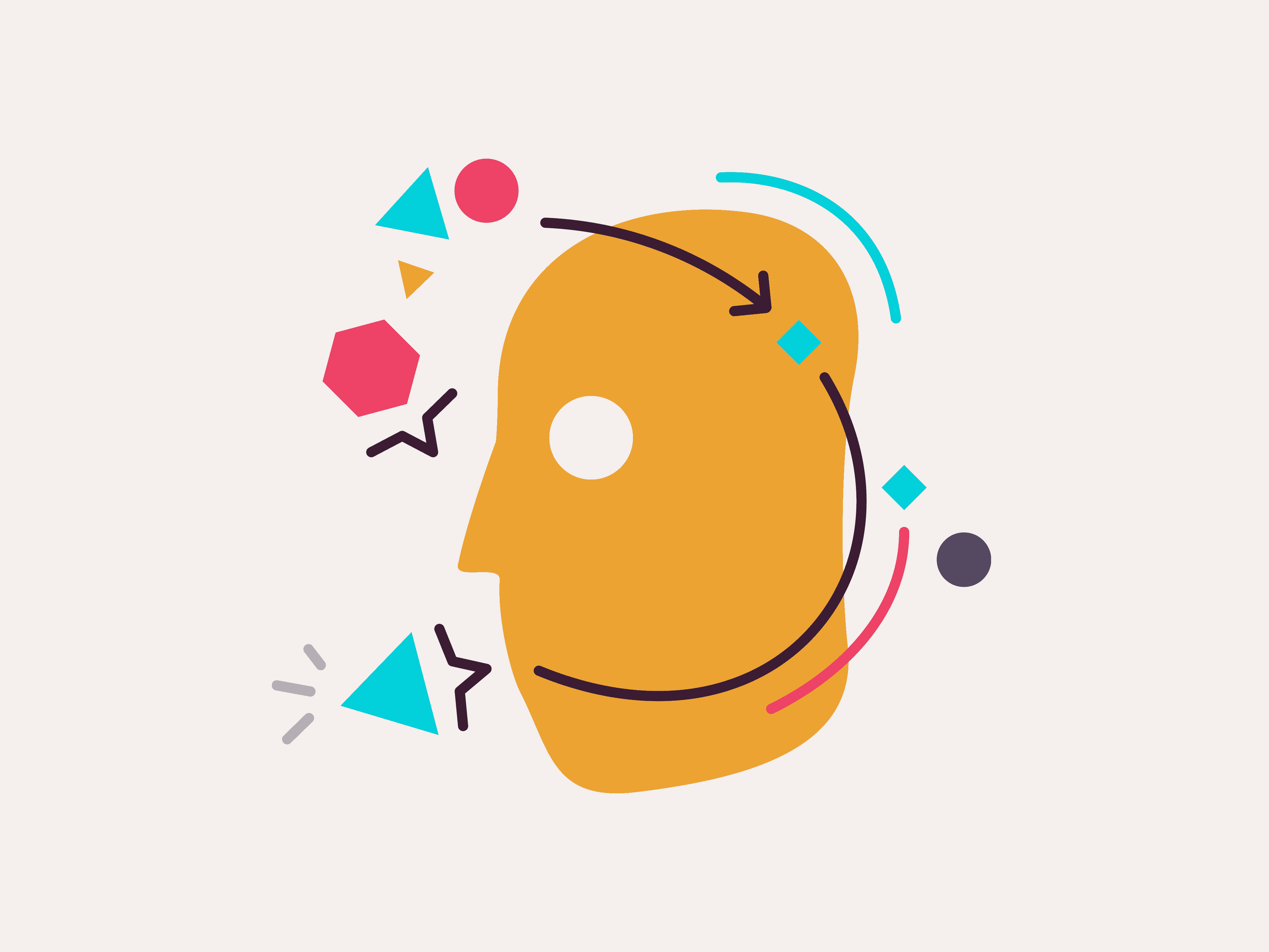 Illustration of a head with shapes floating around it
